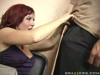 Horny busty brunette milf sucking huge thick cock