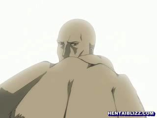 Busty Japanese hentai hot poking by ghetto old guy