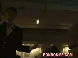 japanse, pijpbeurt, stewardess
