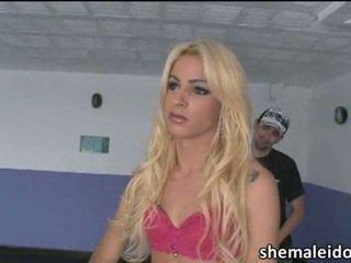 Blonde slim shemale Dany De Castro threesome anal sex