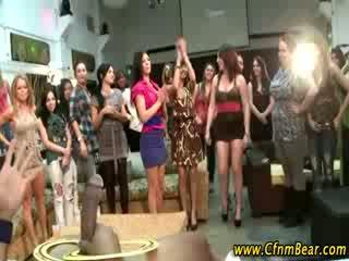 Babes sucking shaft at big CFNM party