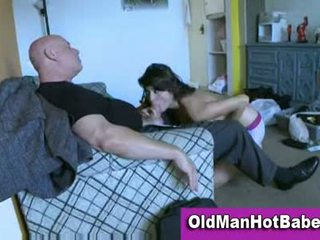 Young brunette fucking and sucking older guy