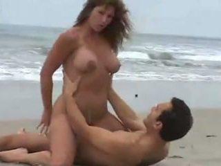 grote borsten, strand, brunettes