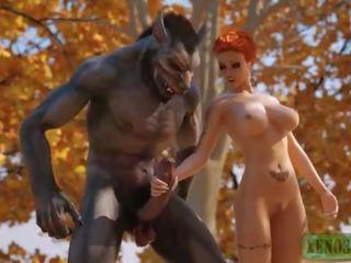 Vähe punane ratsutamine hood attacked & perses poolt 3d monster werewolf sisse mystique forest. 3dx fairy saba paroodia