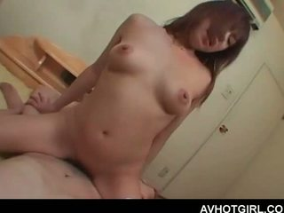Busty Asian school babe riding loaded cock like its her