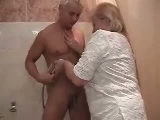 mamie, douche, gros cul