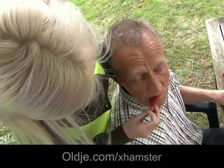 Rich old man fucking his busty blonde babe