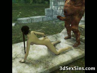 3d aliens 과 demons 씨발 소녀!