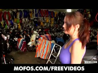 Biker girl with perfect set of tits is fucked doggystyle at work