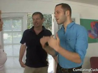 Courtney humilates her husband with a real cock