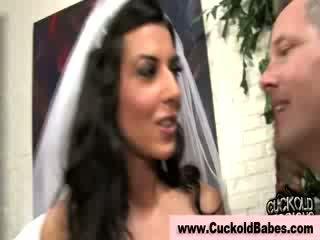 Sexy Cuckhold loving bride sucks interracial nuts