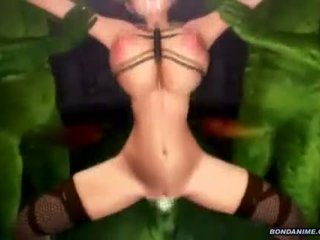 Bondage 3D animated with bigboobed fucked wetpussy by monsters