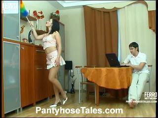 Gwendolen en adam pantyhosing op film activiteit