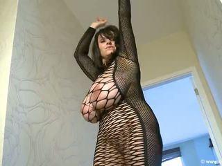 huge tits, big tits, fishnet