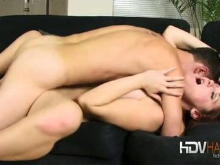 Medium melons brunette nailed hard on the couch
