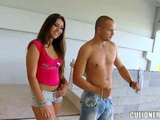 Sensuous looking şokolad haired honey is mad to be in a xxx