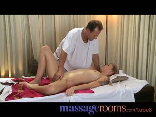 Massage Rooms Beautiful young girls get tight holes filled by big hard cock