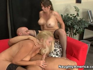 Oustanding tittie blondinka milfs have erotic 3 some nearby sons mate