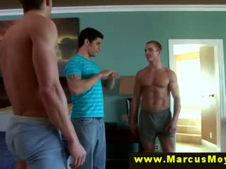 Three horny straight males try blowjobs