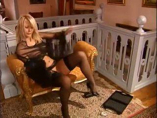 German blonde MILF in stockings