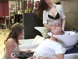 Fantasyhd - babes lily and holly have 3 adam at beauty salon
