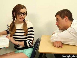 estudiante, chica, flaco