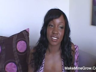 Huge ripe tits ebony whore greedy for two monster black cocks