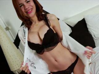 Thai ladyboy Pan fondles her lovely dick until she spurts cum