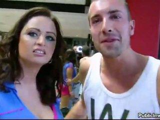 Big boobs amateur slammed in the gym