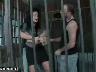 Aletta Ocean getting double fucked in the jail