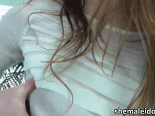 brunette, shemale, fishnet