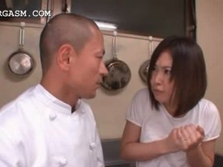 Asia waitress gets susu grabbed by her bos at work