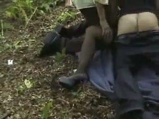 Brunette woman gets gangbanged on wood...