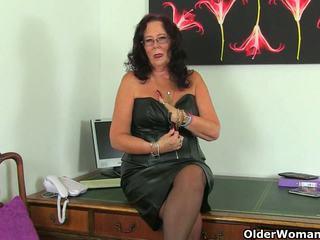 British Mature Secretaries Lulu Lush and Zadi Stripping