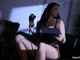 Alison Strips off Her Purple Lingerie to Play with.