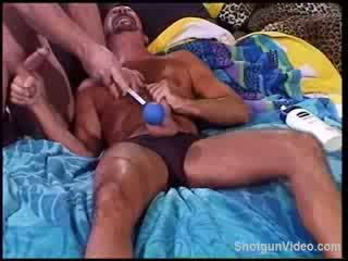Intense ball bashing gets top ready to cum hands free.