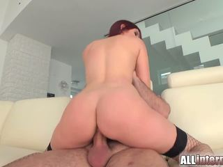 Mira is a tall chick who loves sex. She gets her pussy pounded and filled with cum.