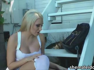 Slim shemale Kelly Clare in hot anal sex with busty Katie Summers