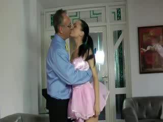 Older guy enjoys stocking chick prostitute Blow Job