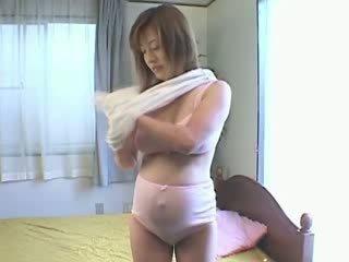 Pregnant asian has sensitive nipples