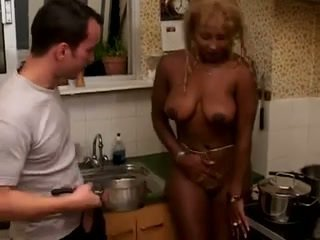 French Black Mature Gets Banged In The Kitchen