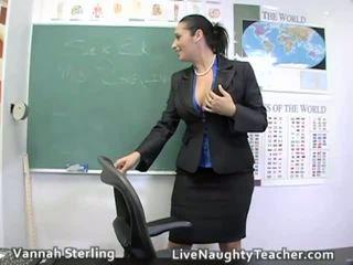 Horny and classy teacher masturbates in the classroom