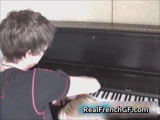 Cute French Gf Engulfing Shlong Near Piano