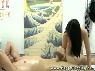 Horny asian babe gets cumshot from her lucky client