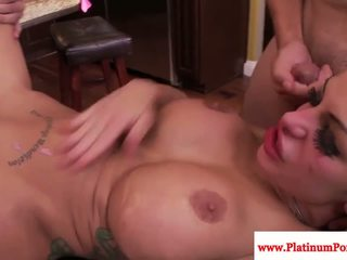 Inked babe Angelina Valentine sprayed with cum