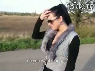 Crazy Amateur Skank Analized On A Car Trunk For Money