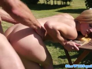 Outdoor squirting babes anal in the sun