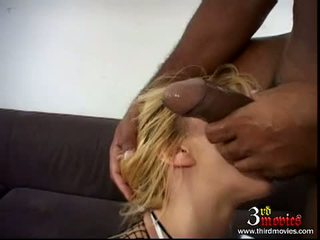 Golden Haired Netted Babe Julie Silver Fills Her Face Hole With A Long Darksome Meatpole