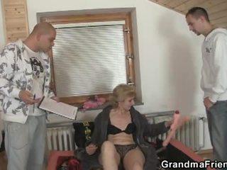 Horny grandma fucked by two horny dudes