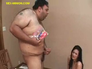 Sex with Food for Brunette and Fat Guy